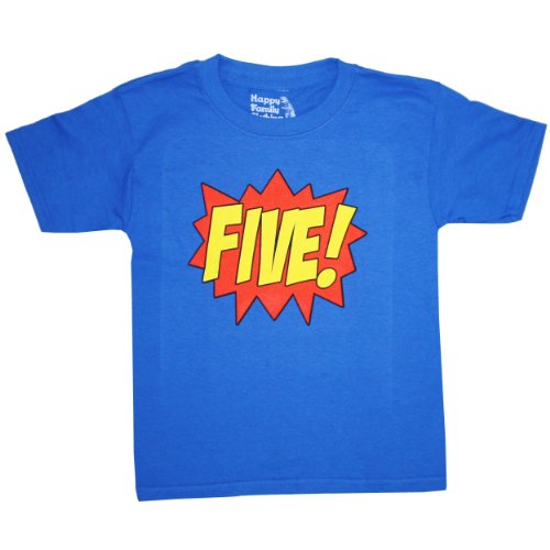 Happy Family Clothing Little Boys Superhero Fifth Birthday Kids T Shirt